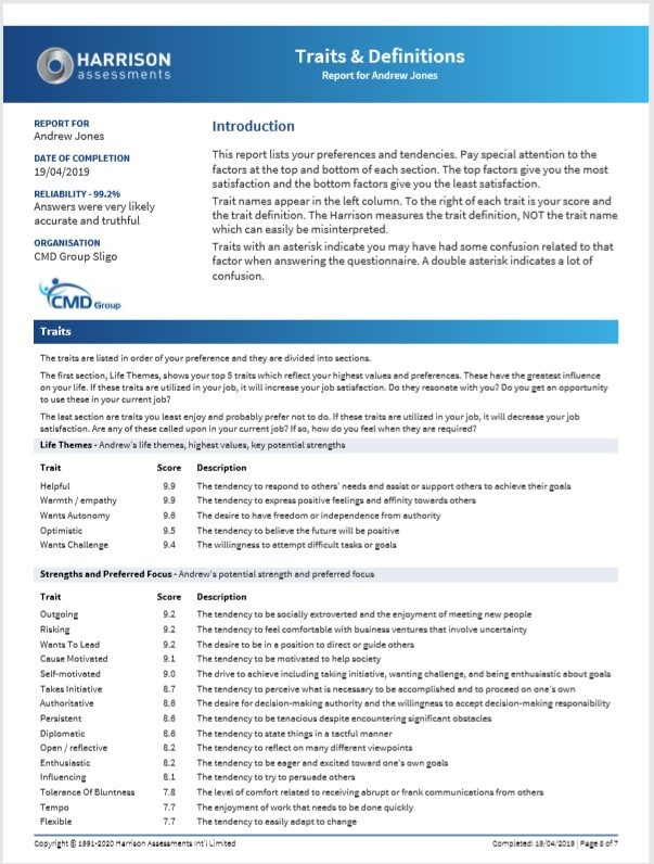 Traits & Definition Report Harrison Assesments