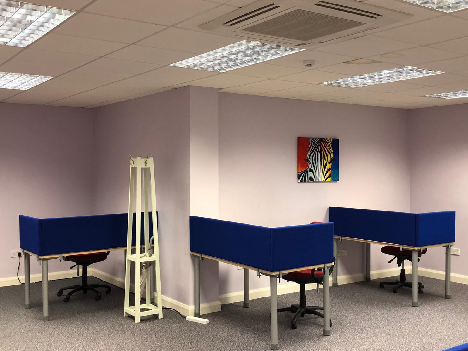 Group of desks in CMD Remote Working Hub